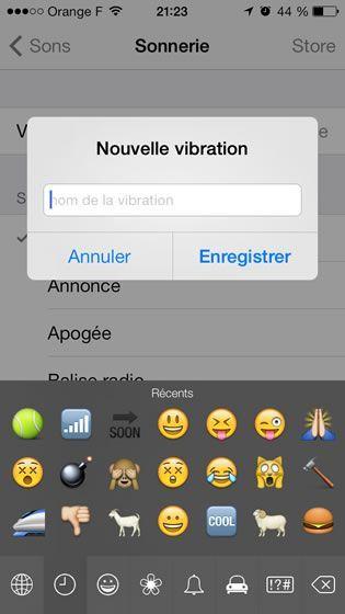 Capture d'écran - Enregistrement de la sonnerie vibreur sur iOS 7