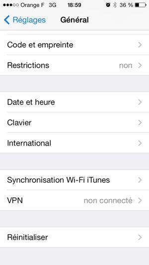 Capture d'écran - Paramètres généraux d'iOS 7