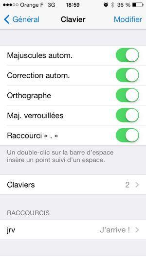 Capture d'écran - Paramètres du clavier sous iOS 7