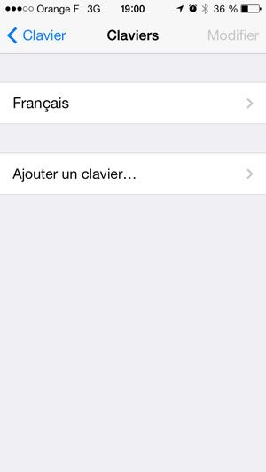 Capture d'écran - Paramètes des claviers sous iOS 7