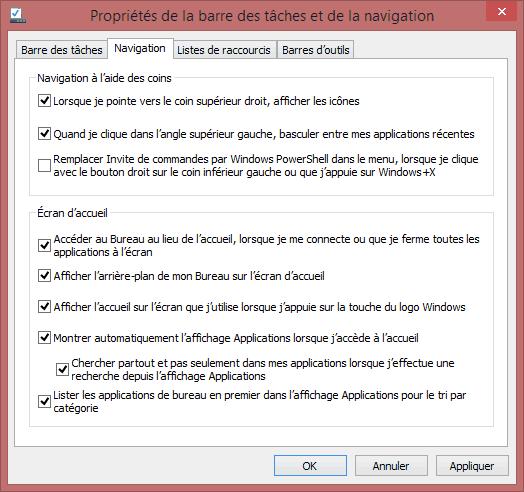 Capture d'écran - Propriétés de la barre des tâches sous Windows 8.1
