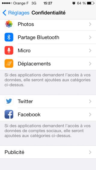 Capture d'écran - Paramètres de confidentialité, iOS 7