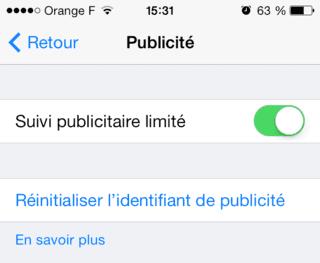 Capture d'écran - Paramètres de Publicité, iOS 7