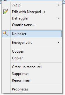Capture d'écran - Menu contextuel après installation de Unlocker