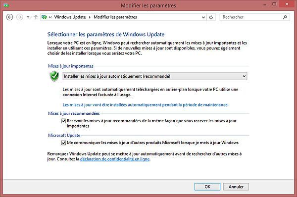 Capture d'écran - Paramètres Windows Update