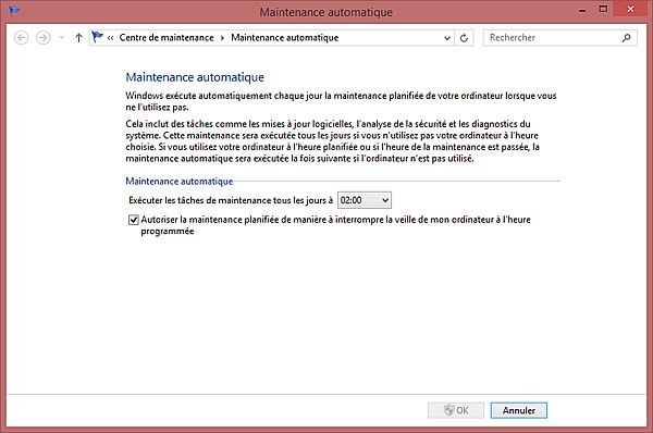 Capture d'écran - Paramètres de la maintenance planifiée