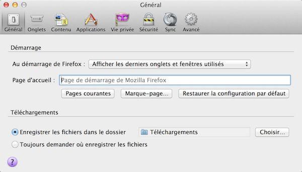 Capture d'écran - Options générales de Firefox