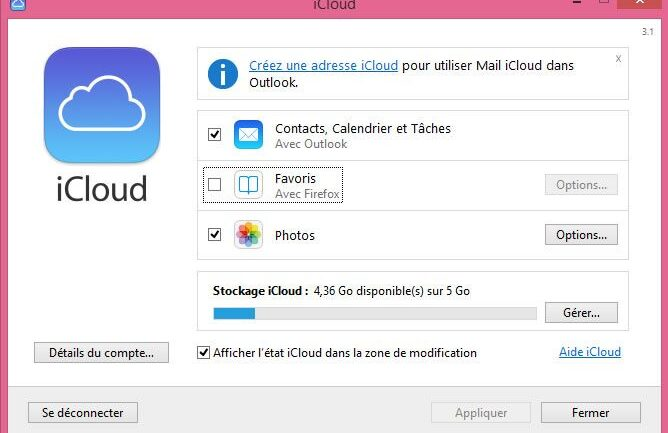 Capture d'écran - Tableau de Bord iCloud sous Windows