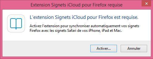 Capture d'écran - Extension iCloud pour Firefox