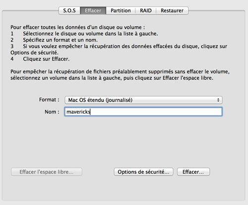 Capture d'écran - Utilitaire de disque, onglet Effacer