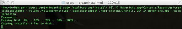 Capture d'écran - Installation de MacOS X Mavericks sur clé USB