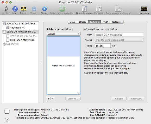 Capture d'écran - MacOS X Mavericks sur clé USB Bootable