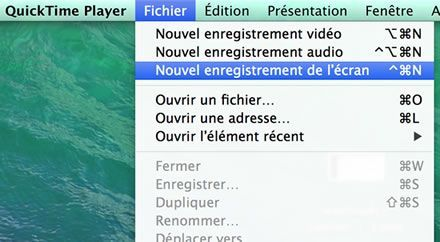 Capture d'écran - Menu Fichier de Quick Time Player, Mavericks
