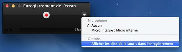 Capture d'écran - Options d'enregistrement, Mavericks