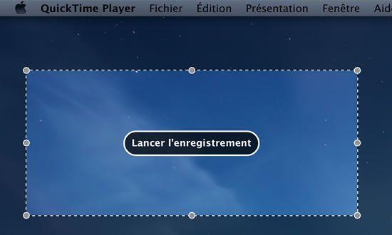 Capture d'écran - Définition de la zone d'enregistrement de l'écran, Mavericks