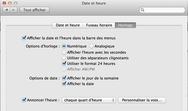 Capture d'écran - Options Date et Heure de Mavericks