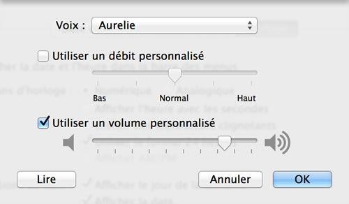 Capture d'écran - Personnalisation de la voix sous Mavericks