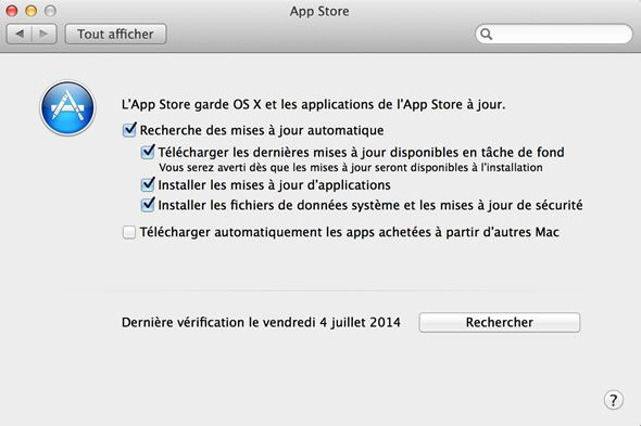 Capture d'écran - Preferences App Store Mavericks