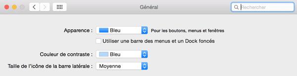 Capture d'écran - Préférences Générales de MacOS X Yosemite