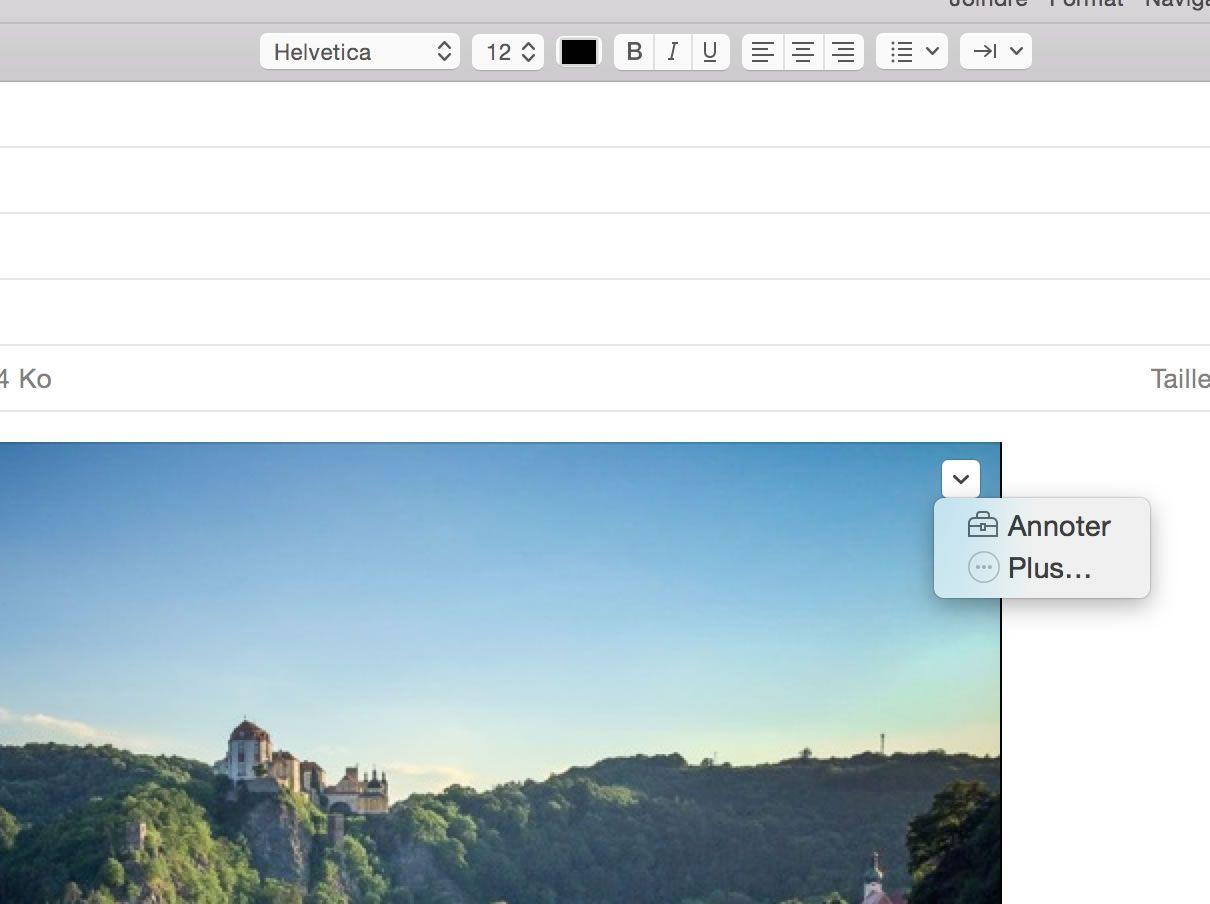 Capture d'écran - Annoter une image dans Apple Mail (Yosemite)