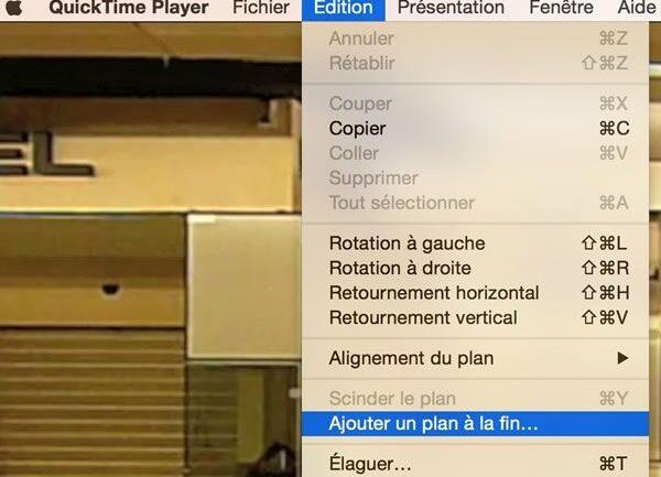 Capture d'écran - Ajouter un plan à la fin, QuickTime Player