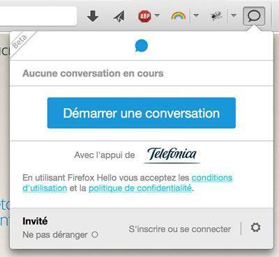 Capture d'écran - Accès à Firefox Hello