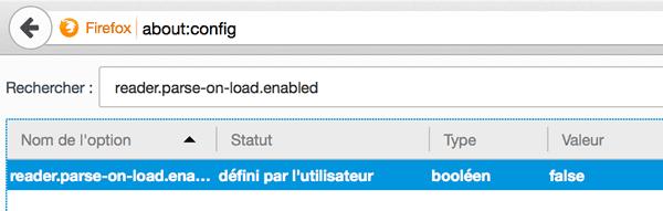 Capture d'écran - About config de Firefox