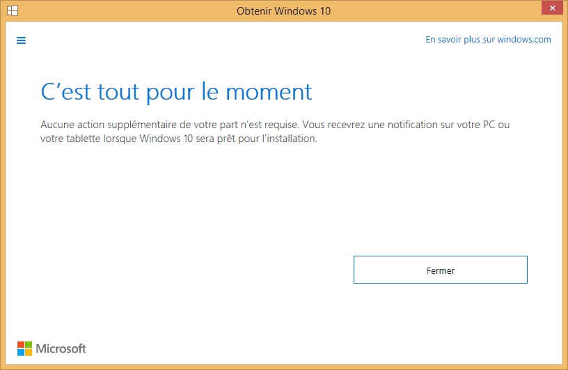 Capture d'écran - Obtenir Windows 10 gratuitement