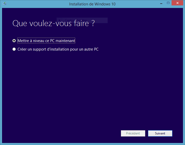 Capture d'écran - Installation de Windows 10 Pro