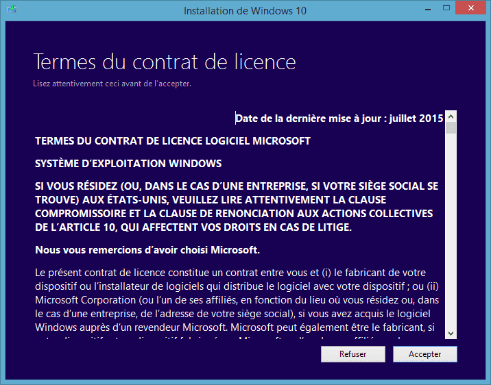 Capture d'écran - Contrat de licence - Installation de Windows 10 Pro