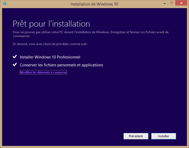 Capture d'écran - Prêt pour l'installation ? - Installation de Windows 10 Pro