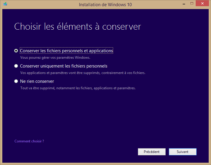Capture d'écran - Eléments à conserver - Installation de Windows 10 Pro