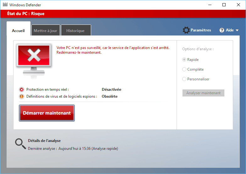 Capture d'écran - Windows Defender sous Windows 10