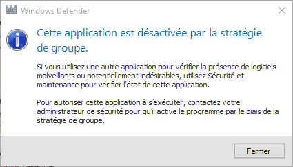 Capture d'écran - Windows Defender désactivé sous Windows 10