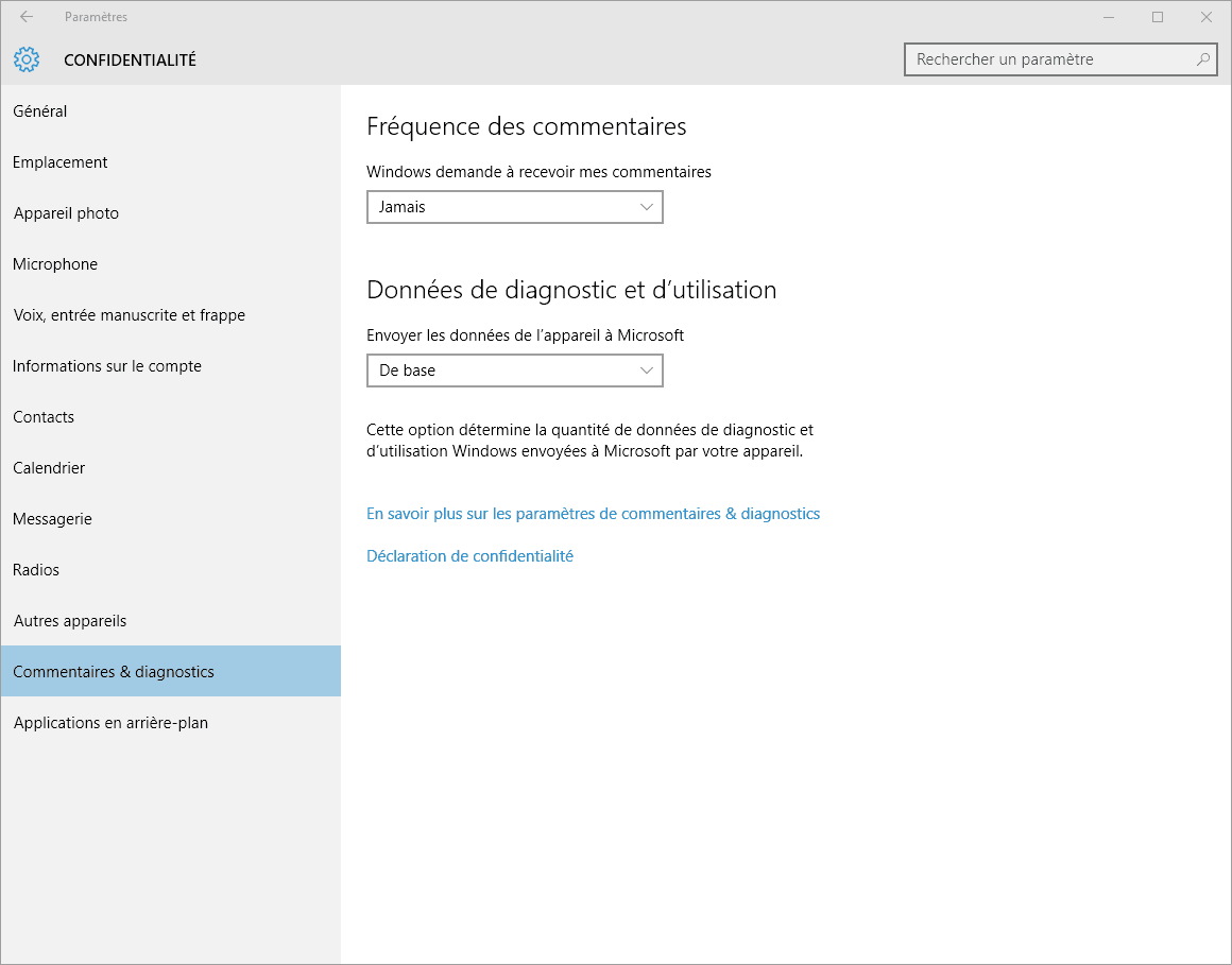 Capture d'écran - Confidentialité, Commentaires et diagnosctics, Windows 10