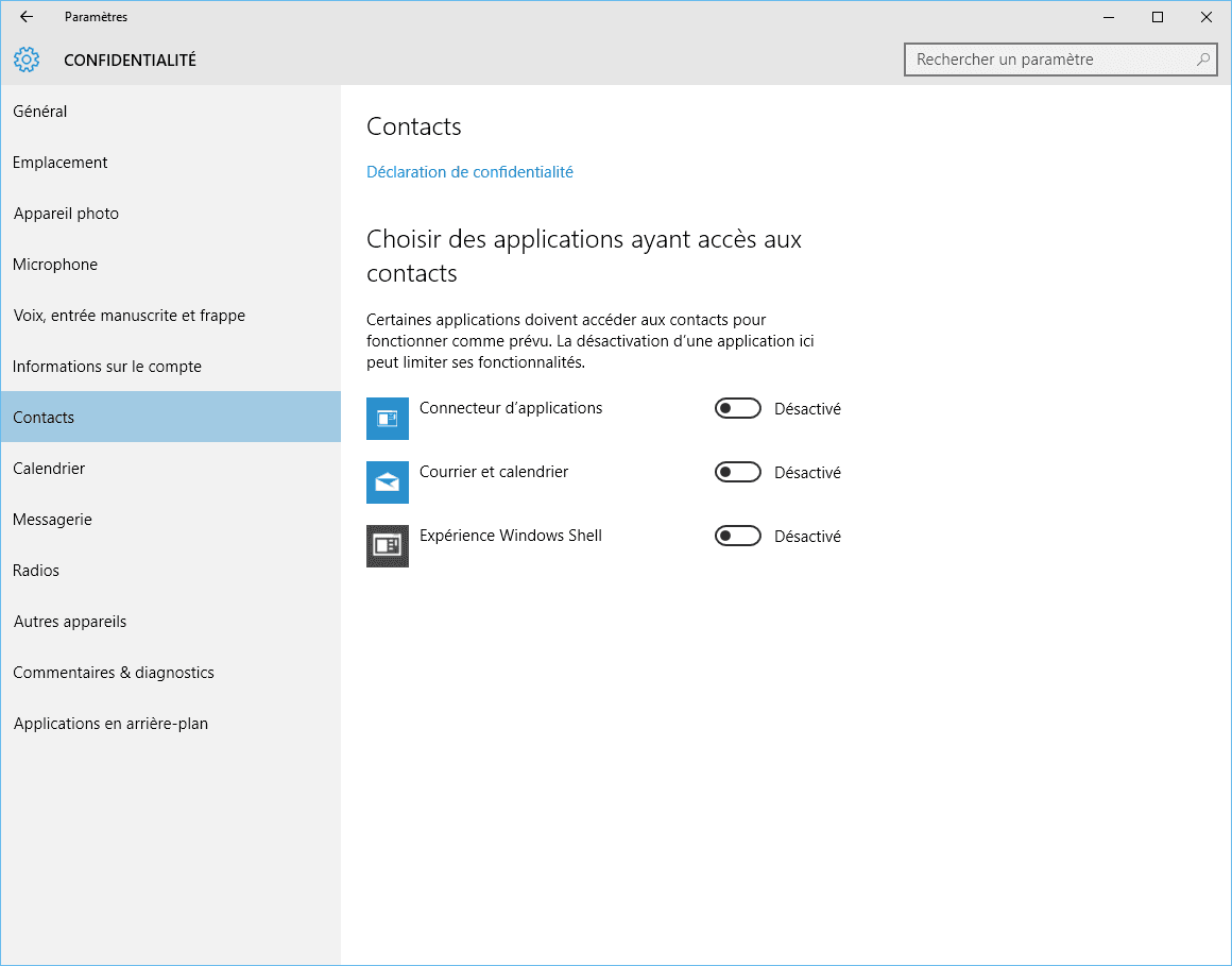 Capture d'écran - Contacts, Windows 10