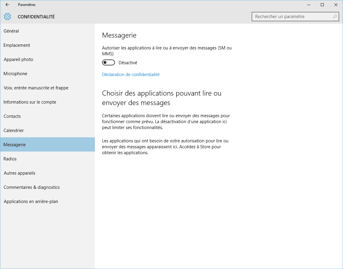 Capture d'écran - Options de confidentialité de la Messagerie, Windows 10