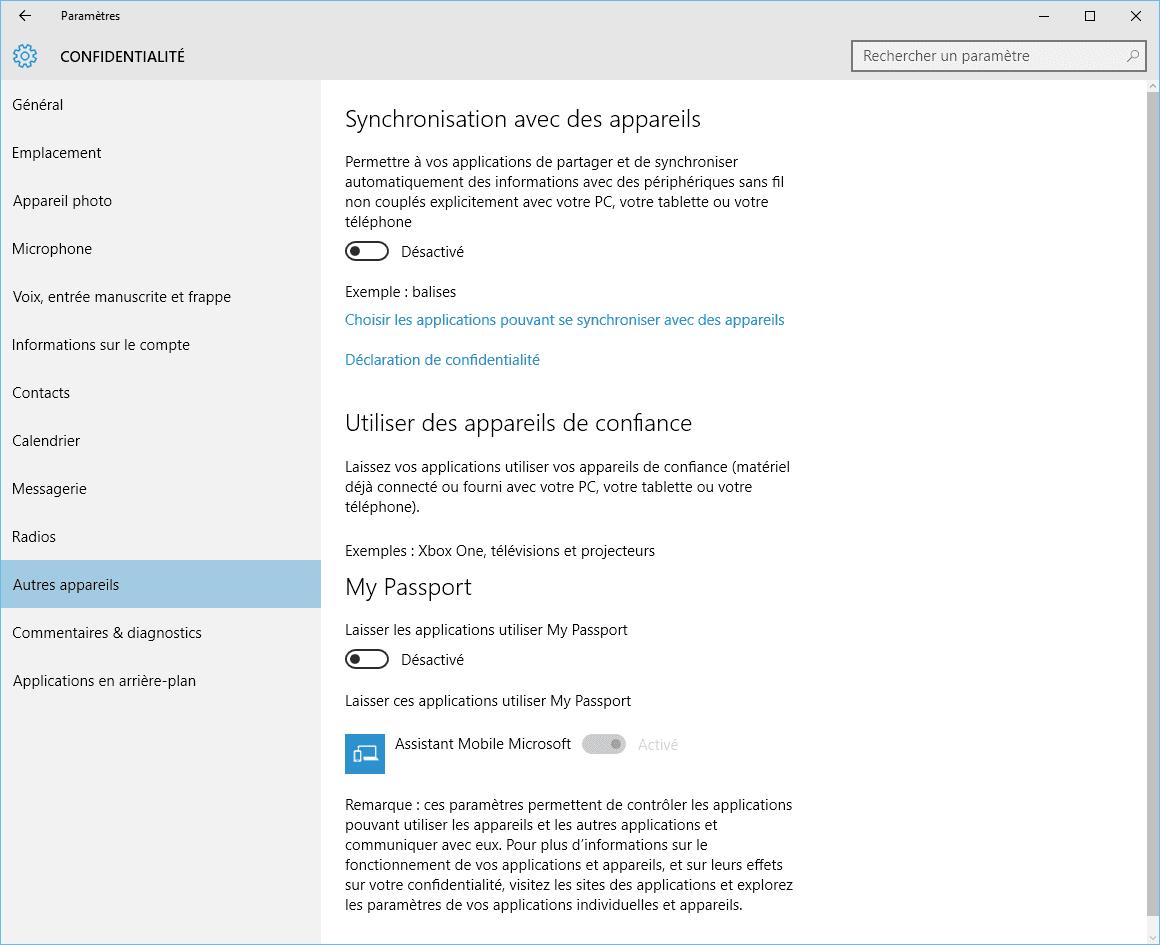 Capture d'écran - Options de Synchronisation avec des appareils, Windows 10