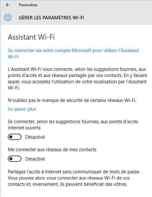 Capture d'écran - Désactiver Wifi Sense sous Windows 10