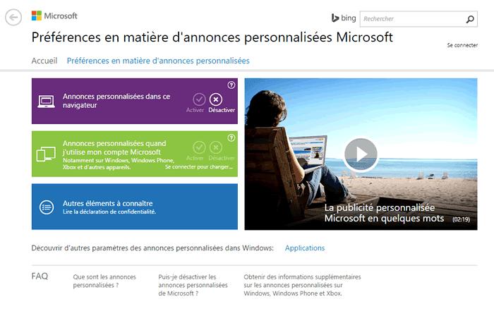 Capture d'écran - Préférences en matière d'annonces personnalisées Microsoft, Windows 10
