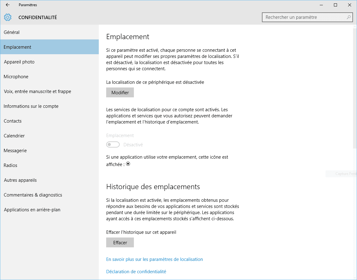 Capture d'écran - Options de géolocalisation sous Windows 10