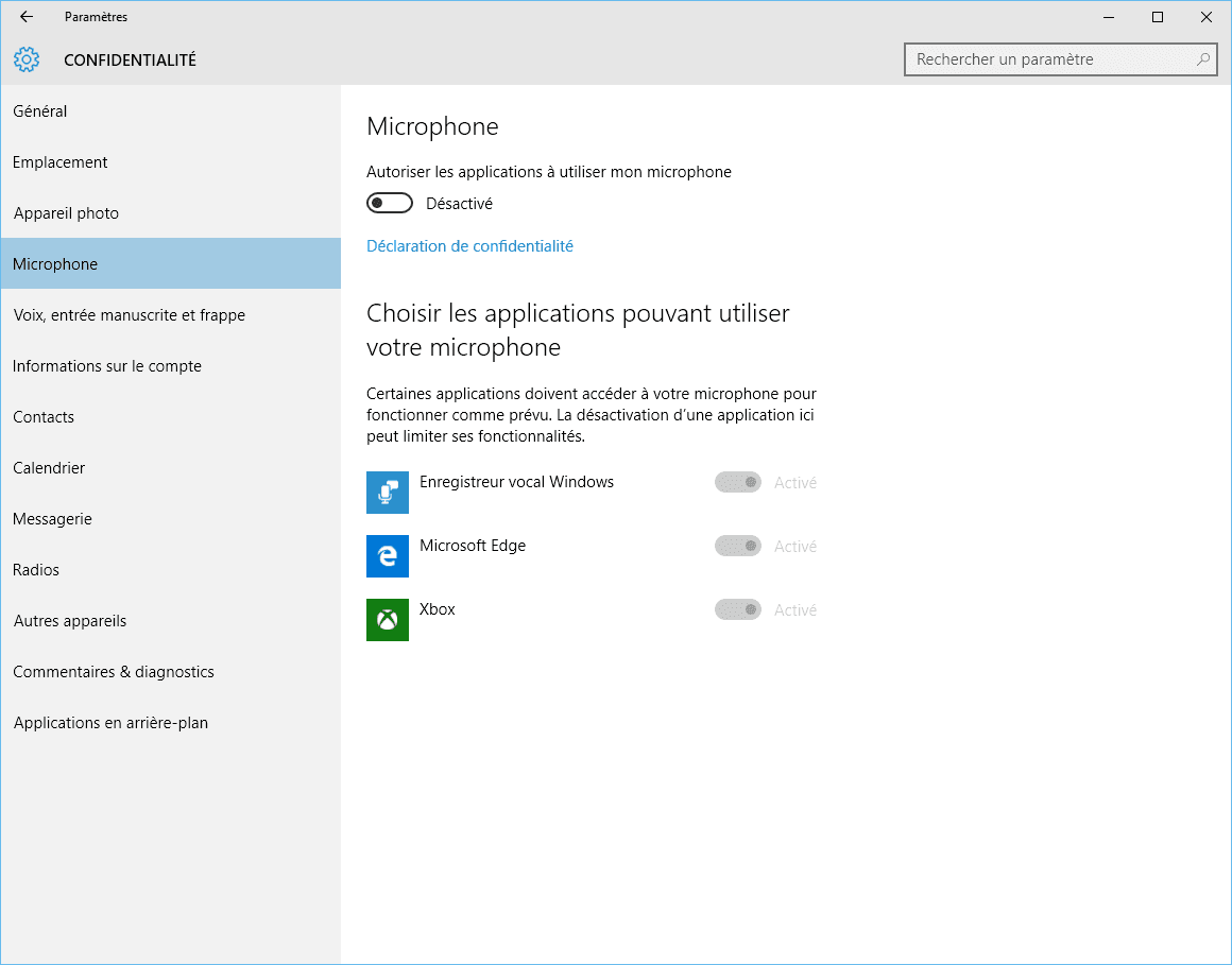 Capture d'écran - Options du microphone dans Windows 10