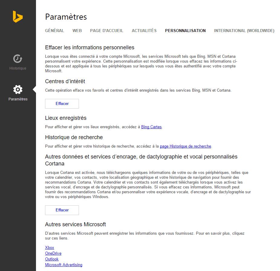 Capture d'écran - Paramètres de Personnalisation de Bing