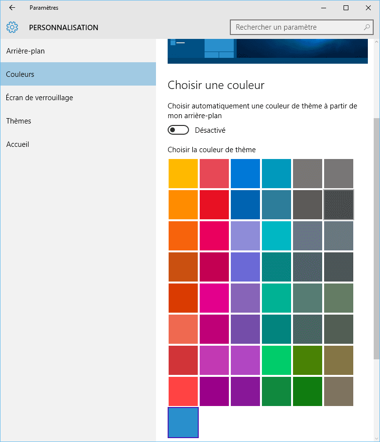 Capture d'écran - Options des couleurs, Windows 10
