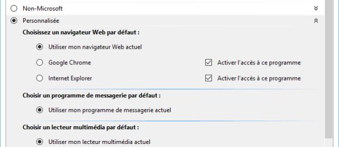 Capture d'écran - Programmes par défaut personnalisée sous Windows 10