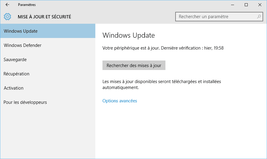 Capture d'écran - Paramètres de Windows Update