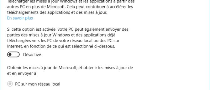 Capture d'écran - Désactivation du mode P2P de Windows Update