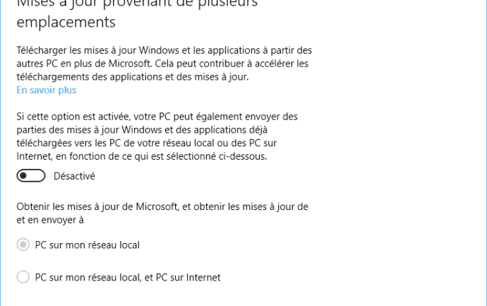 Capture d'écran - Désactivation du mode P2P de Windows Update