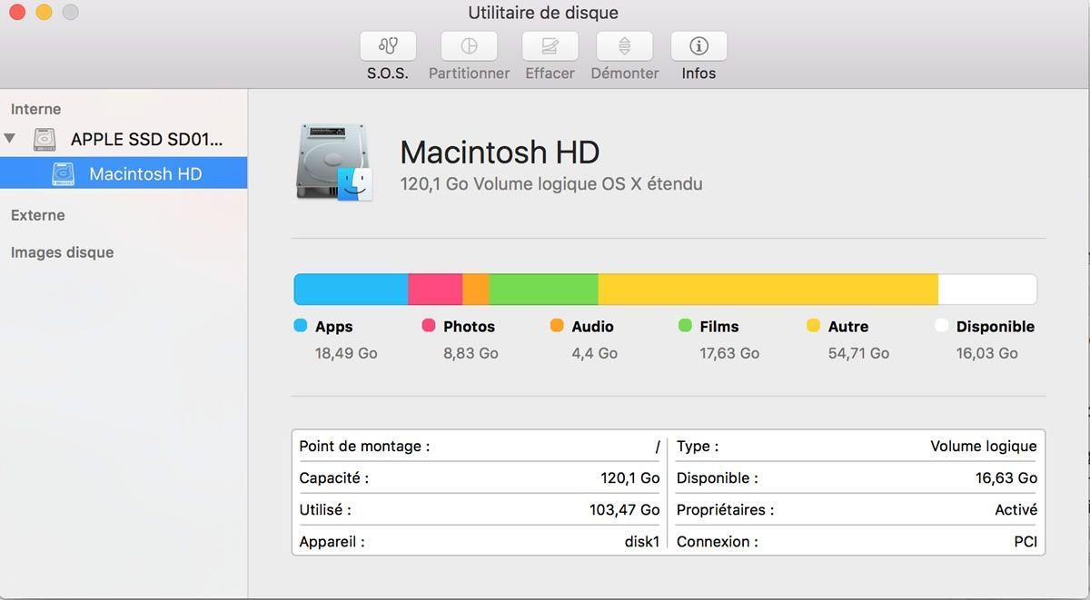 Capture d'écran - Utilitaire de disque, MacOS X El Capitan