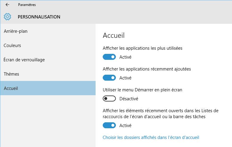 Capture d'écran - Options de l'écran d'accueil de Windows 10